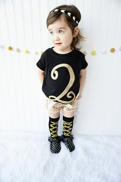 Two Year Old Girl 2nd Birthday Gold Glitter 2 Shirt Liv CoTM