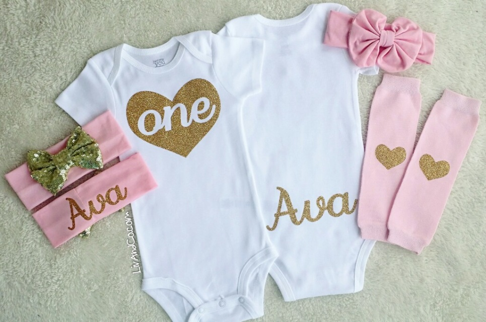 3fb0b31e045 Personalized Pink and Gold Girl 1st Birthday Outfit Liv   Co.™