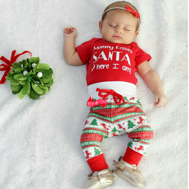 304d8f24d Mommy Kissed Santa and Here I Am Baby Girl or Boy Christmas Bodysuit and T  Shirt - ©Liv & Co™