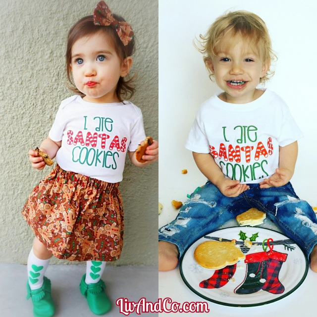 i ate santas cookies funny baby and toddler boy or girl christmas shirt and one piece outfit liv co