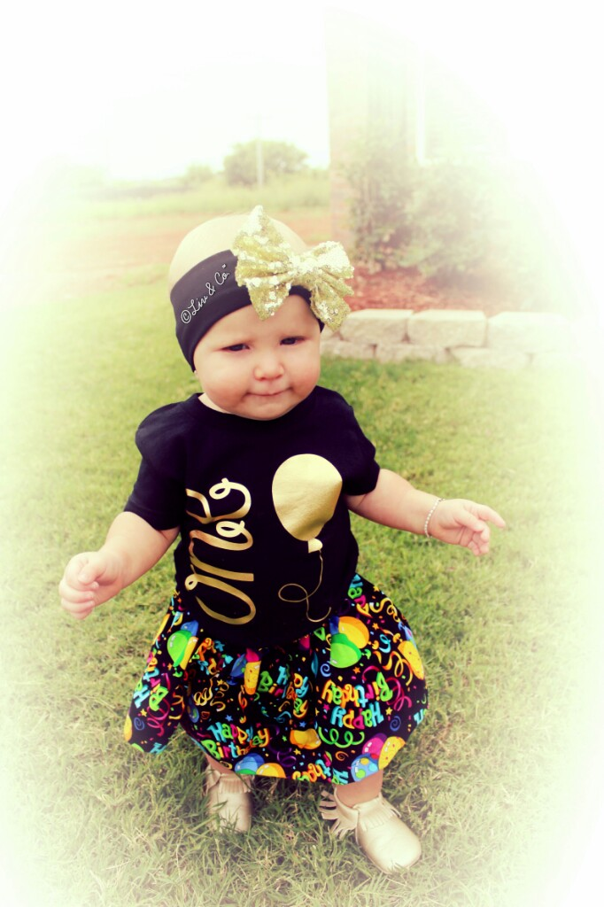 Black And Gold Baby Girls Half Birthday Tee Shirt 1 2 Year Bday TShirt By Liv CoTM