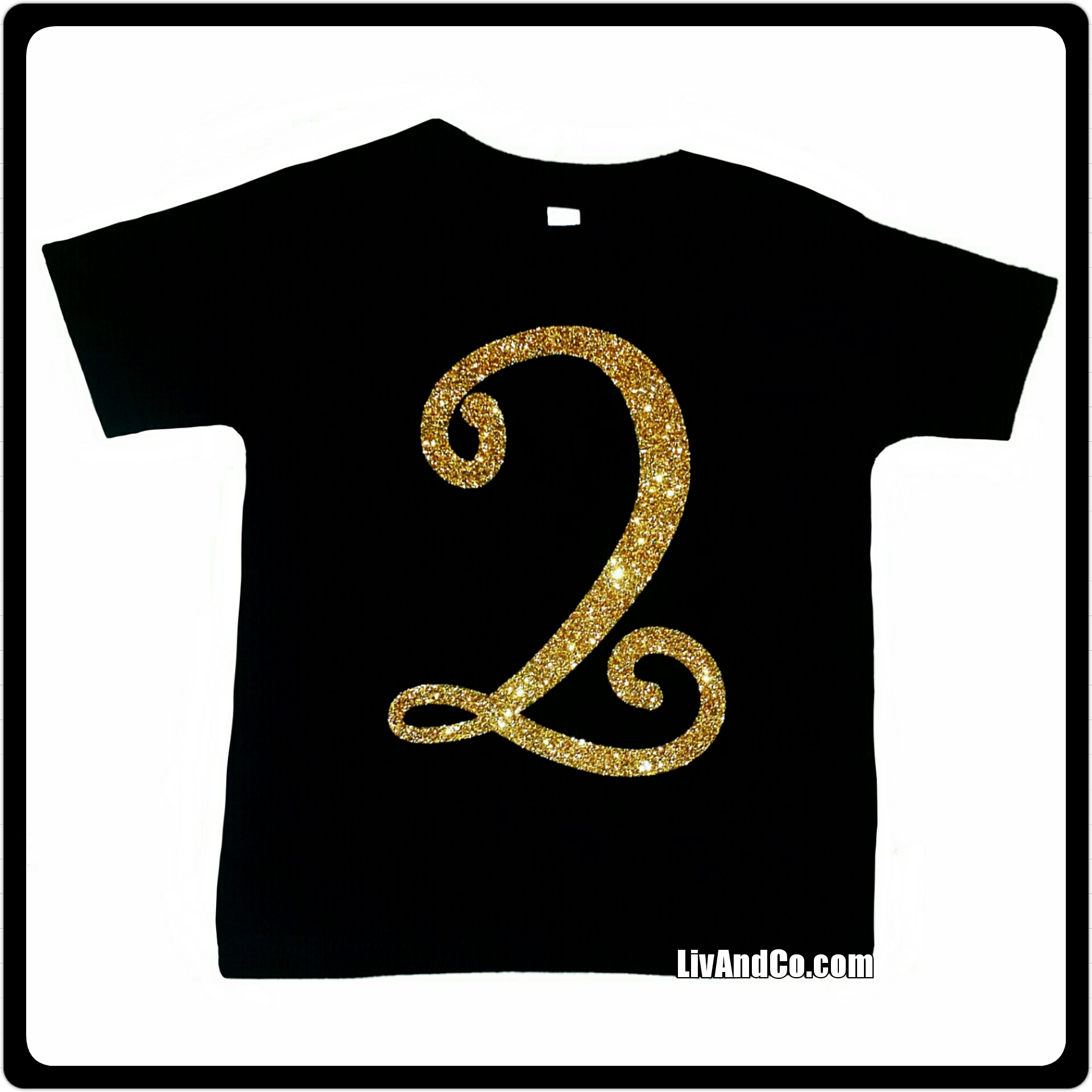 Black And Gold Glitter Baby Girls 2nd Birthday Tee Shirt Two Years Old Second Bday TShirt By Liv CoTM